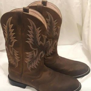 Ariat Brown & Pink Leather Boots Size 9